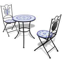 vidaXL 3-dijelni bistro set s keramičkim pločicama plavo-bijeli