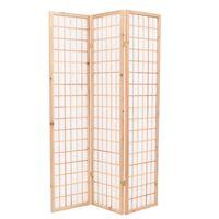 vidaXL Sklopiva sobna pregrada s 3 panela u japanskom stilu 120x170 cm prirodna