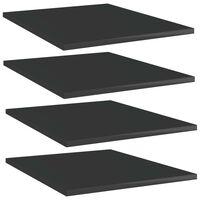 vidaXL Police za knjige 4 kom visoki sjaj crne 40x50x1,5 cm od iverice