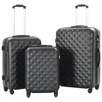 vidaXL 3-dijelni set čvrstih kovčega crni ABS