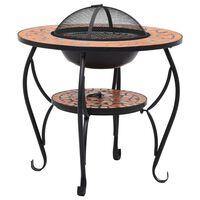 vidaXL Mozaični stolić s ognjištem boja cigle 68 cm keramički