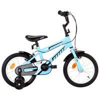 vidaXL Dječji bicikl 14 inča crno-plavi