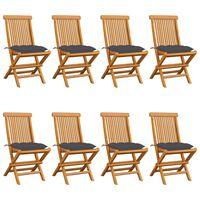 vidaXL Vrtne stolice s antracit jastucima 8 kom od masivne tikovine