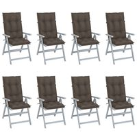 vidaXL Garden Reclining Chairs with Cushions 8 pcs Grey Acacia Wood (310617+2x310618+2x314258)