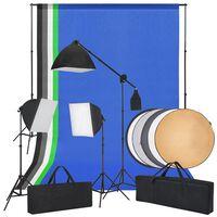 vidaXL Oprema za Foto Studio sa Softbox Svjetlima, Pozadinama i Reflektorom