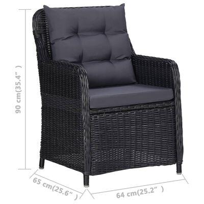 vidaXL Vrtne stolice s jastucima 2 kom od poliratana crne