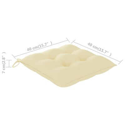 vidaXL Jastuci za stolice 4 kom krem bijeli 40 x 40 x 7 cm od tkanine