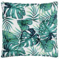 vidaXL Jastuk za vrtno sjedalo s uzorkom lišća 80x80x10 cm od tkanine