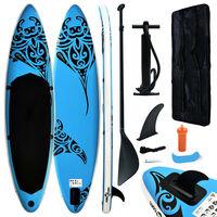 vidaXL Set daske na napuhavanje za veslanje stojeći 366x76x15 cm plavi