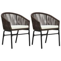 vidaXL Vrtne stolice 2 kom smeđe PVC ratan