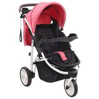 vidaXL Dječja kolica s 3 kotača ružičasto-crna