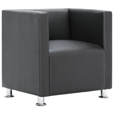 vidaXL Kockasta fotelja od umjetne kože siva
