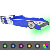 vidaXL Dječji krevet u obliku trkaćeg automobila LED 90 x 200 cm plavi