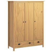"""vidaXL 3-Door Wardrobe """"Hill Range"""" 127x50x170 cm Solid Pine Wood"""
