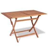 vidaXL Sklopivi vrtni stol od tikovine 120 x 70 x 75 cm