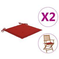 vidaXL Jastuci za vrtne stolice 2 kom crveni 40 x 40 x 4 cm od tkanine