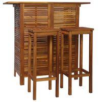 vidaXL 3-dijelni set barskog stola i stolica od masivnog bagremovog drva