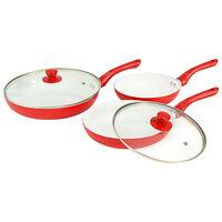 vidaXL 5-dijelni set tava za prženje crveni aluminijski