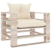 vidaXL Vrtna sofa od paleta od borovine s krem jastucima