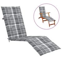vidaXL Jastuk za ležaljku sivi karirani (75 + 105) x 50 x 4 cm