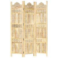 vidaXL Sobna pregrada s 3 panela 120 x 165 cm od masivnog drva manga