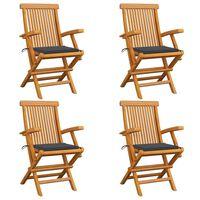 vidaXL Vrtne stolice s antracit jastucima 4 kom od masivne tikovine