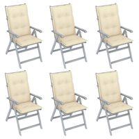 vidaXL Nagibne vrtne stolice s jastucima 6 kom masivno bagremovo drvo