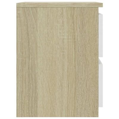 vidaXL Noćni ormarići 2 kom bijeli i boja hrasta 30x30x40 cm iverica