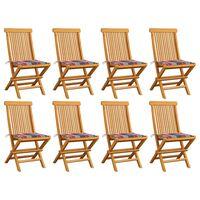 vidaXL Vrtne stolice s crvenim kariranim jastucima 8 kom od tikovine