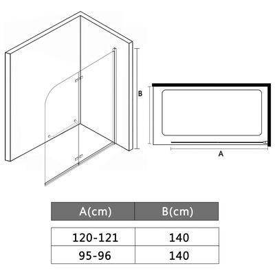 vidaXL Sklopiva vrata za tuš-kabinu s 2 ploče ESG 120 x 140 cm
