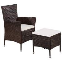 vidaXL Vrtna stolica i tabure od poliratana s jastucima smeđi