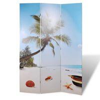 vidaXL Sklopiva sobna pregrada s uzorkom plaže 240 x 170 cm