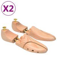 vidaXL Napinjači za cipele 2 para veličina 44 - 45 od masivne borovine