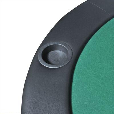 vidaXL Sklopiva Podloga za Stol za Poker 10 Igrača Zelena