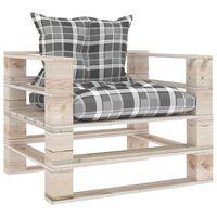 vidaXL Vrtna sofa od paleta od borovine sa sivim kariranim jastucima