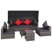 vidaXL 7-dijelna vrtna garnitura od poliratana s jastucima siva