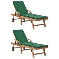 vidaXL Ležaljke za sunčanje s jastucima 2 kom masivna tikovina zelene