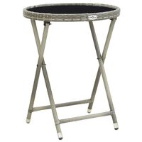 vidaXL Stolić za čaj sivi 60 cm poliratana od kaljenog stakla