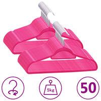 vidaXL 50-dijelni set vješalica protuklizni ružičasti baršunasti