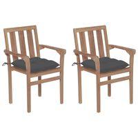 vidaXL Vrtne stolice s antracit jastucima 2 kom od masivne tikovine