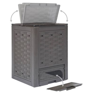 vidaXL Vrtni komposter smeđi 60 x 60 x 83 cm 300 L