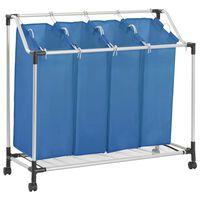 vidaXL Košara za rublje s 4 vreće plava čelična
