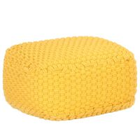 vidaXL Ručno pleteni tabure boja senfa 50 x 50 x 30 cm pamučni