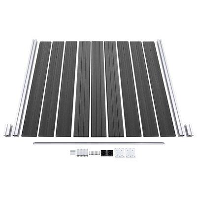 vidaXL Set panela za ogradu WPC 872 x 186 cm crni