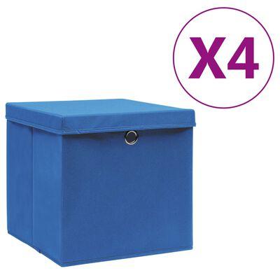 vidaXL Kutije za pohranu s poklopcima 4 kom 28 x 28 x 28 cm plave