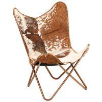 vidaXL Stolica u obliku leptira od prave kozje kože smeđe-bijela