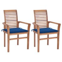 vidaXL Blagovaonske stolice s kraljevski plavim jastucima 2 kom