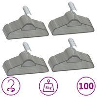 vidaXL 100-dijelni set vješalica za odjeću protuklizni sivi baršunasti