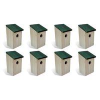 vidaXL Kućice za ptice 8 kom drvene 12 x 12 x 22 cm