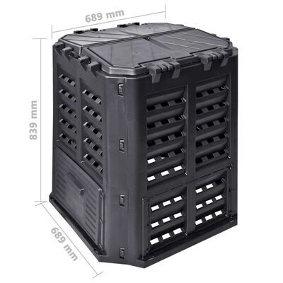 vidaXL Vrtni komposter crni 68,9 x 68,9 x 83,9 cm 360 L